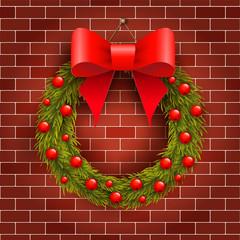 Christmas wreath on the brick wall