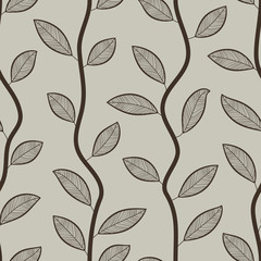 Seamless retro styled leaves wallpaper pattern.