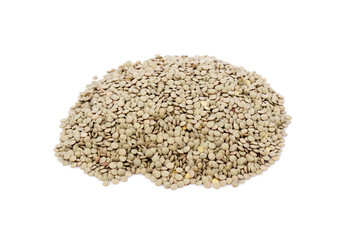 Heap of lentil isolated on white.