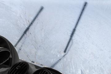 Frozen car inside
