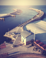 Vintage filtered picture of harbor in Kolobrzeg.