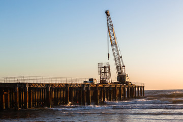 Construction Beach Pier Crane Dawn