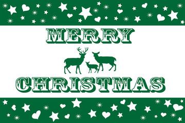 Green and White Merry Christmas Card with Reindeer