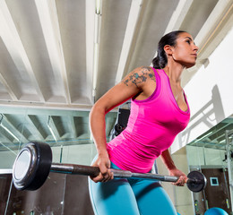 Barbell bent over row supine grip woman workout