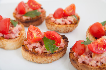 bruschetta (Italian Toasted Garlic Bread )ham,cherry tomato