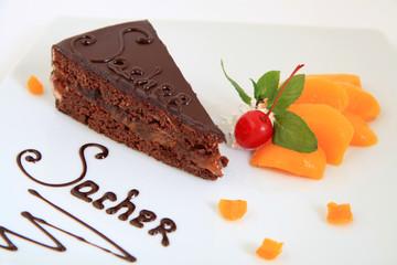 fresh chocolate sacher cake with decoration