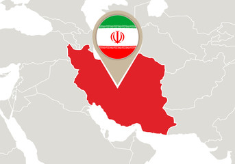 Iran on World map