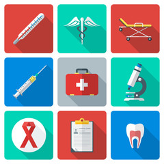 vector various color flat style medical icons with shadow