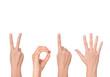 Leinwanddruck Bild - new year showing by hands