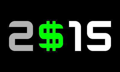 year 2015, numbers with dollar currency symbol, S with 2 lines