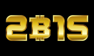 year 2015, golden numbers with bitcoin currency symbol