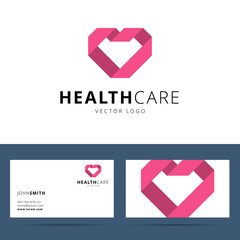 Health care vector logo template and business card template.