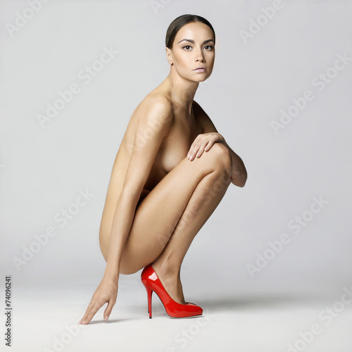 canvas print picture sexy nude woman in shoes