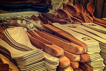 Group of wood objects, traditional romanian