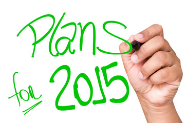 Plans for 2015 written on a transparent board