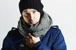 Handsome Man in Scurf. Stylish European Boy.Winter Fashion
