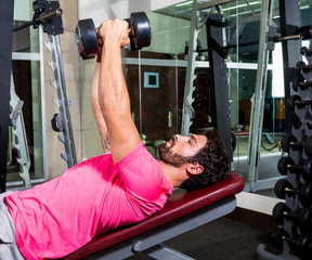 Dumbbell inclined bench Press flyes man workout