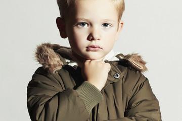 Fashionable child in winter coat.fashion kids.little boy