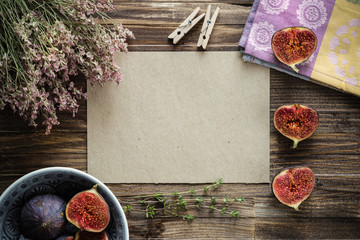 Сhopped figs with copy space on kraft paper