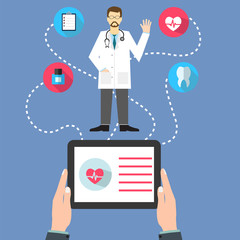 Medicine web concept with a doctor with stethoscope and man hold