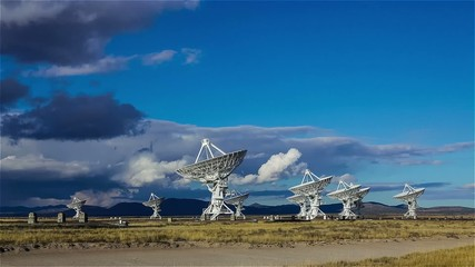 Very Large Array Dishes moving in unison