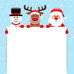 Snowman, Rudolph & Santa Label Snow Blue
