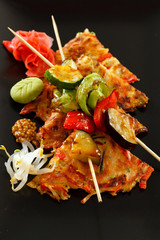 vegetable kebab with japanese omelette