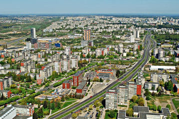 Vilnius city capital of Lithuania aerial view