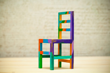 Toy multicolored wooden chair, modern art handmade