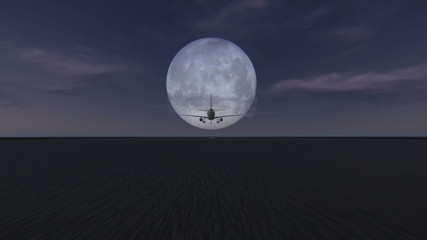 Plane taking off at the airport at dusk with full moon