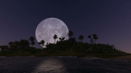 Full moon rising over the trees of a tropical island