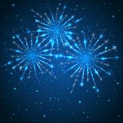 Fireworks on blue background