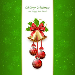 Green Christmas background with bells
