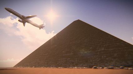 Plane taking off on the Egypt Pyramids