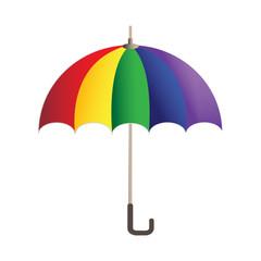 Rainbow bright umbrella simple icon