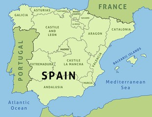 Spain map with regions