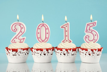 Happy New Year 2015 red velvet cupcakes