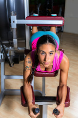 Lying hamstring curl machine girl