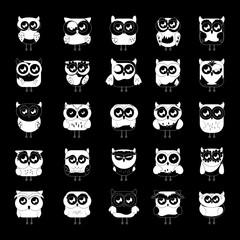 Owl Set - Isolated On Black Background