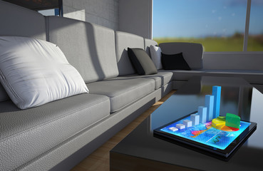 With graphic tablet placed on a table in a living room