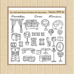 Vector set of hand drawn furniture for decoration