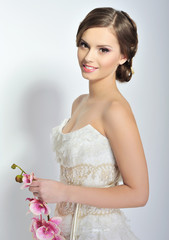 Beautiful bride. Wedding hairstyle and make up