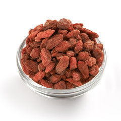 Goji Berries super foods in a glass bowl.