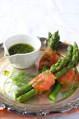Asparagus wrapped in smoked salmon with dill