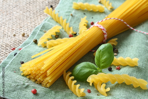 Uncooked gluten free pasta from blend of corn and rice flour - 74102023