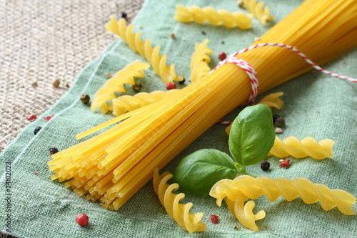 Fotobehang Aromatische Uncooked gluten free pasta from blend of corn and rice flour