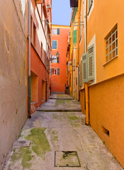 Courtyard among Classic Mediterranean Buildings in Nice, France
