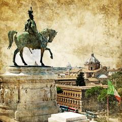 Rome, piazza Venezia, retro styled picture