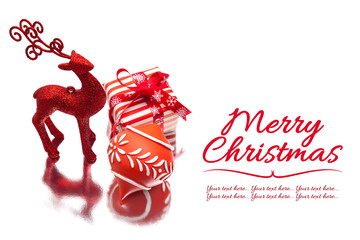 christmas background with red deer, gift box and ornament