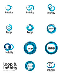 Set of infinity and loop business logos